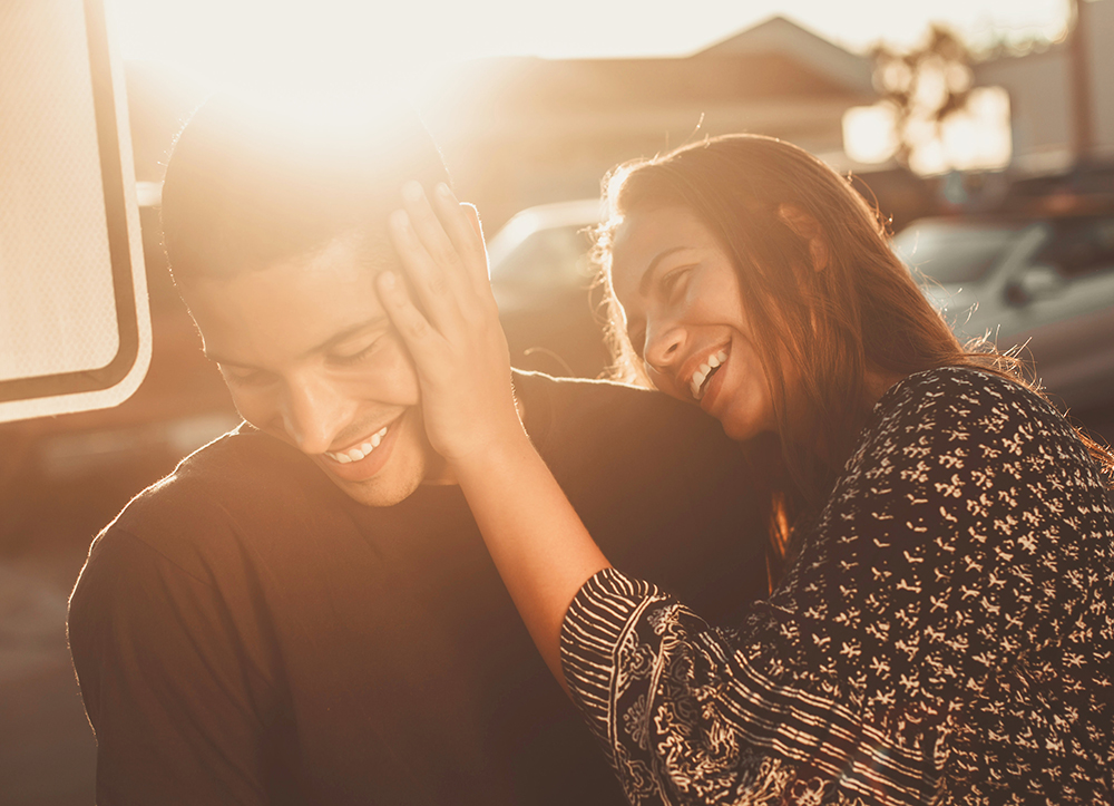 couple laughing having fun