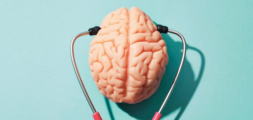 A brain being heard by a stethoscope